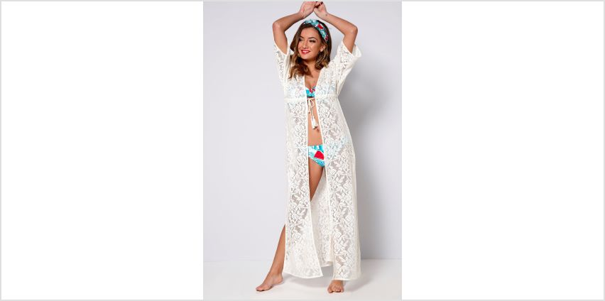 Lace Crochet Maxi Beach Cover Up from Studio