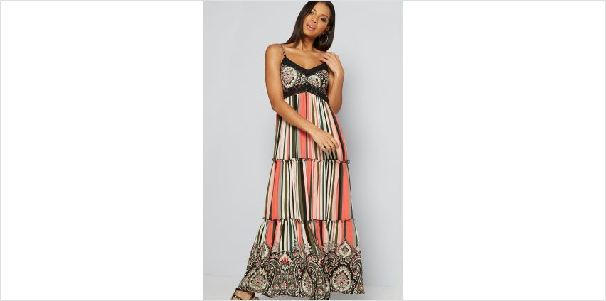 Apricot Tiered Stripe Paisley Maxi Dress from Studio