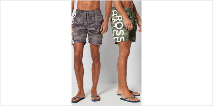 Crosshatch Pack of 2 Fling Cross Camo Swim Shorts from Studio