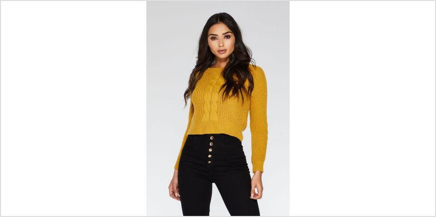 Quiz Mustard Cable Knit Long Sleeve Jumper from Studio