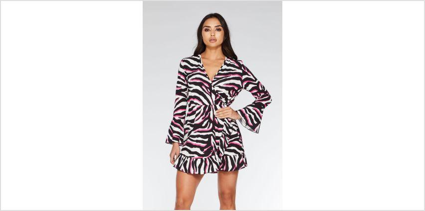 Quiz Zebra Print Frill Front Wrap Dress from Studio