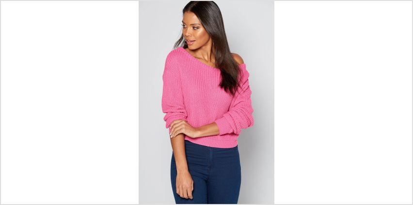 Off the Shoulder Pink Cropped Jumper from Studio