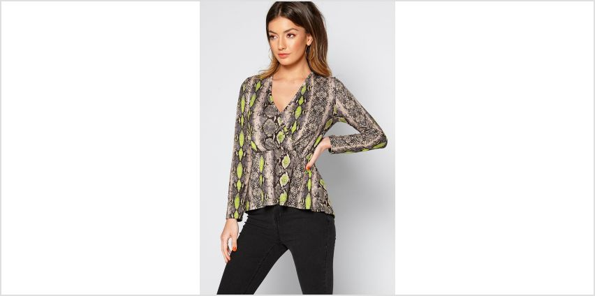 Wrap Front Snake Print Top from Studio