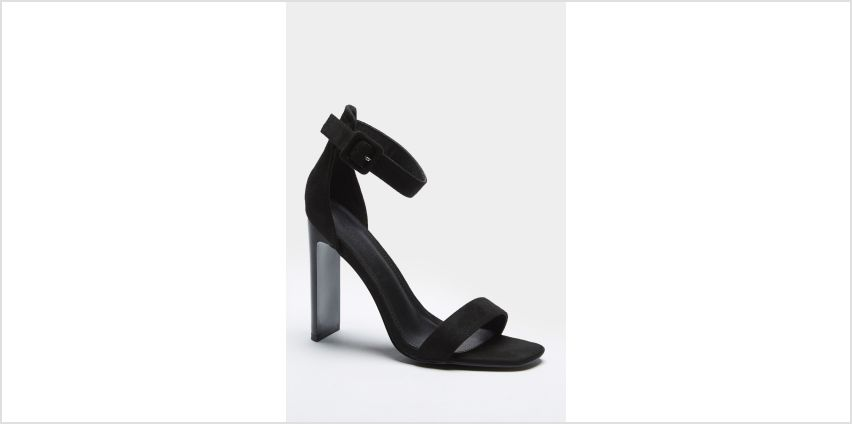Barely There Ankle Strap Faux Suede Black High Heels from Studio
