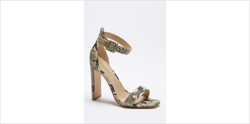 Barely There Ankle Strap Snakeskin Print High Heels from Studio