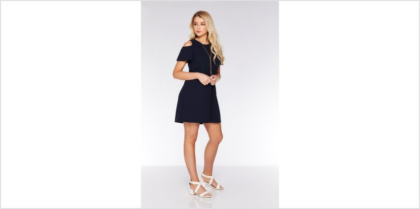Quiz Navy Cold Shoulder Dress with Necklace from Studio