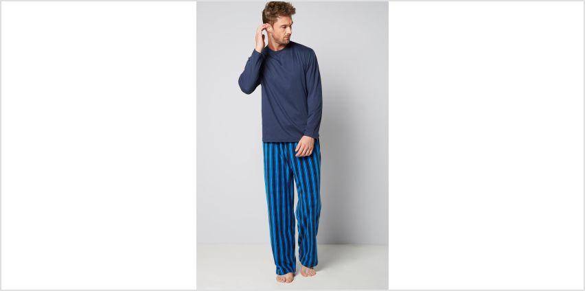 Long Sleeve Top and Stripe Fleece Trouser Pyjamas from Studio