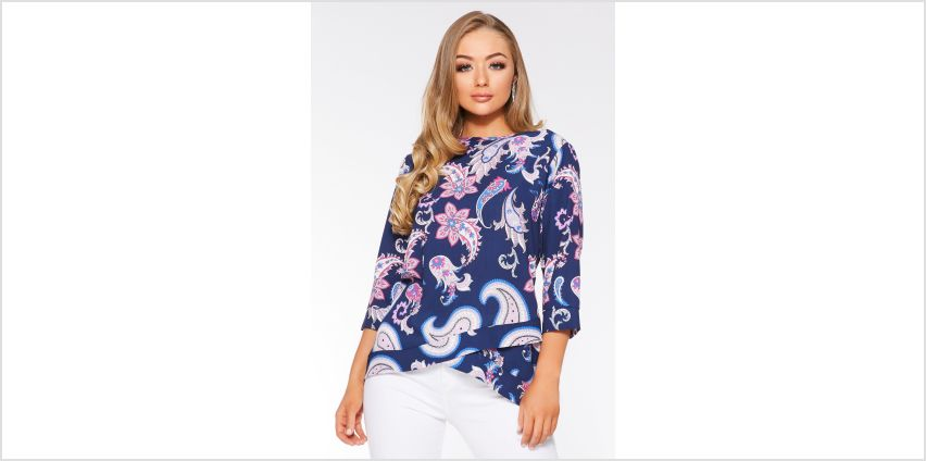 Quiz Paisley Print Cross Over Hem Top from Studio