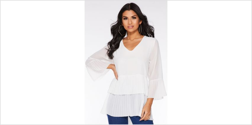 Quiz Pleated Sleeve Dip Hem Top from Studio