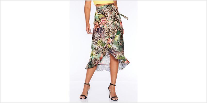 Quiz Wrap Tropical Print Skirt from Studio