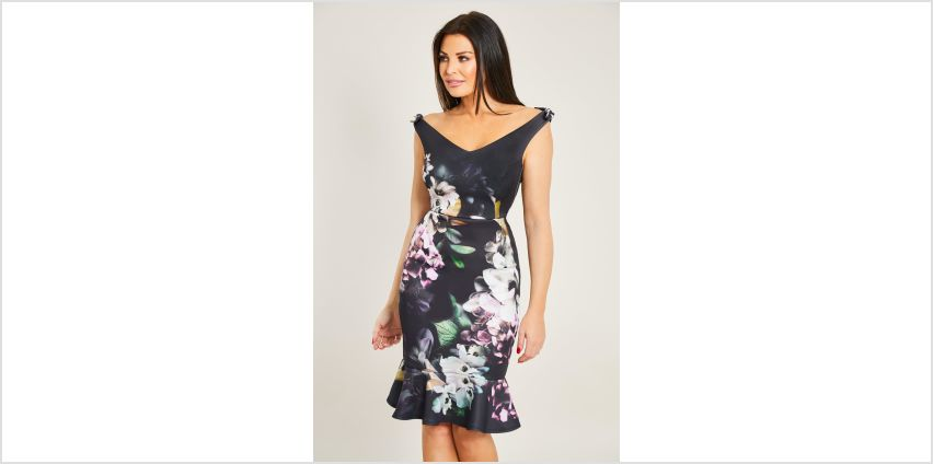 Jessica Wright Alda Bardot Fishtail Floral Midi Dress from Studio