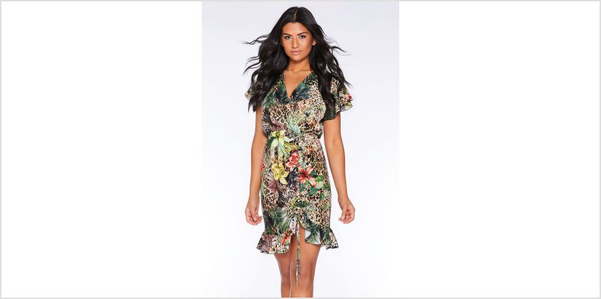 Quiz Frill Sleeve Ruched Front Tropical Print Dress from Studio