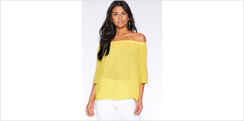 Quiz Yellow Bardot Top from Studio