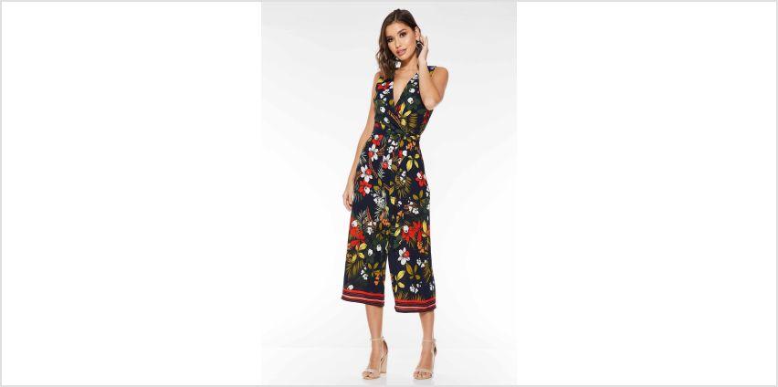 Quiz Floral Print V Neck Culotte Jumpsuit from Studio