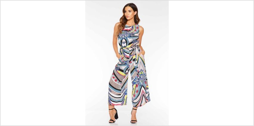 Quiz Pucci Print Culotte Jumpsuit with Tie Belt from Studio