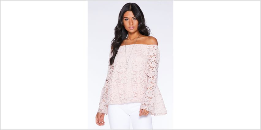 Quiz Lace Blush Bardot Top with Necklace from Studio