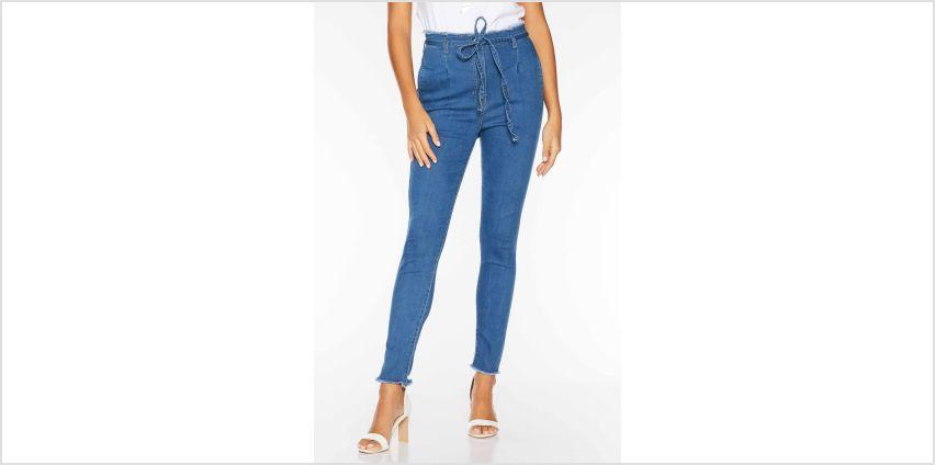 Quiz High Waisted Tie Belt Denim Jeans from Studio