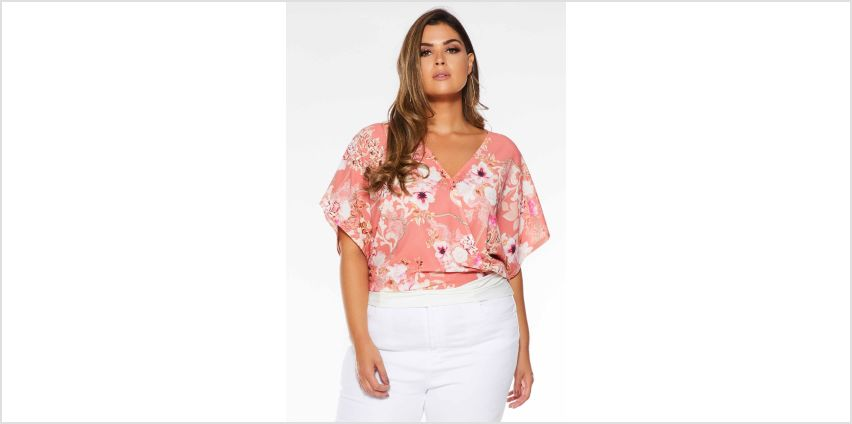 Quiz Curve Floral Printed Wrap Top from Studio