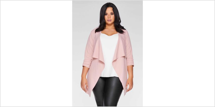 Quiz Curve Dusky Pink Waterfall Jacket from Studio