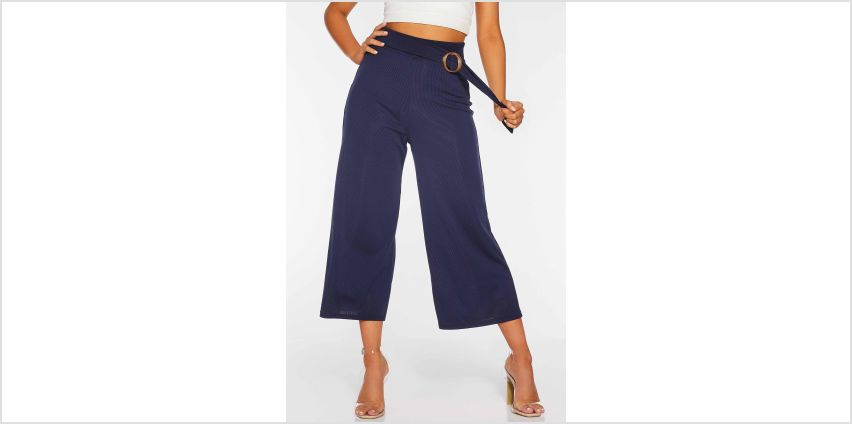 Quiz Navy Ribbed Culotte Trousers with Tie Belt from Studio