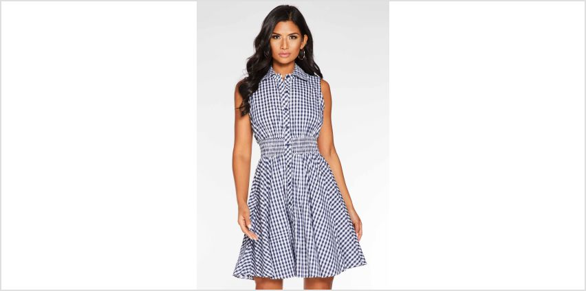 Quiz Woven Gingham Elastic Waist Skater Dress from Studio