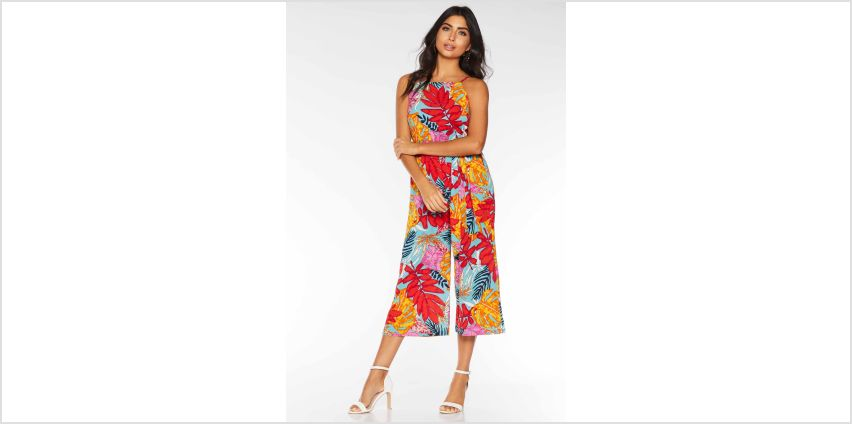 Quiz Tropical Print Tie Belt Culotte Jumpsuit from Studio