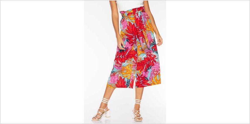 Quiz Tropical Print Paper Bag Tie Belt Culottes from Studio