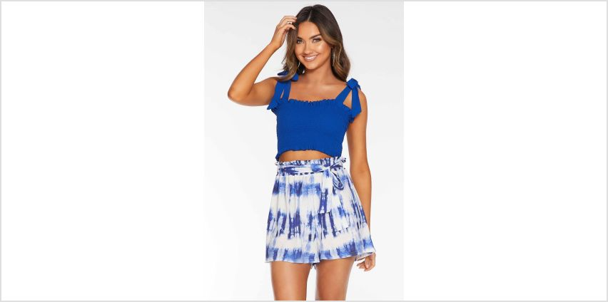 Quiz Bubble Crepe Tie Dye Paper Bag High Waisted Shorts from Studio