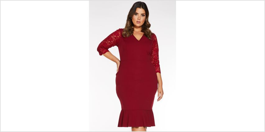 Quiz Curve Sequin Lace ¾ Sleeve Frill Midi Dress from Studio