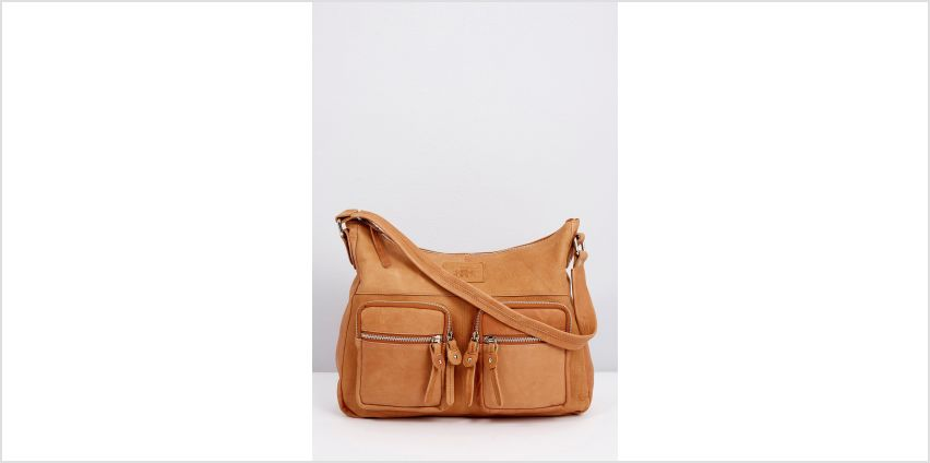 Leather Washed Out Shoulder Bag from Studio