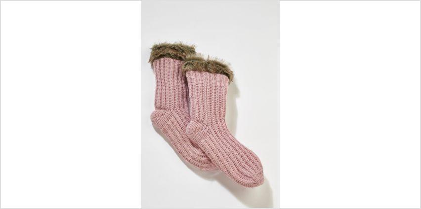 Faux Fur Trim Chunky Knit Socks from Studio
