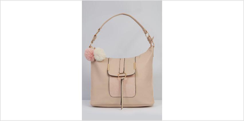 Oversized Pocket Hobo Bag with Pom Pom from Studio