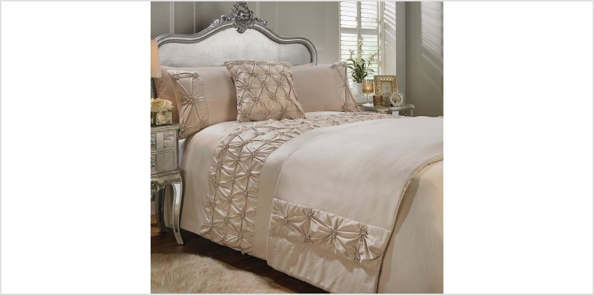 Boutique Faux-Pearl Ruched Duvet Set from Studio
