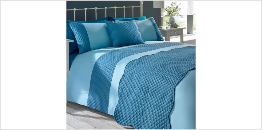 Hexagonal Quilted Duvet Set with FREE Bed Runner and Cushion Cover from Studio