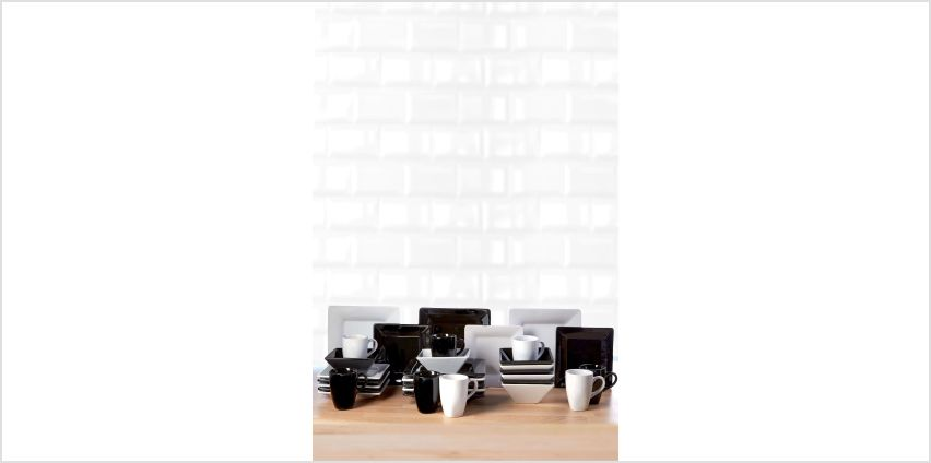 32-Piece Black and White Madison Dinner Set from Studio