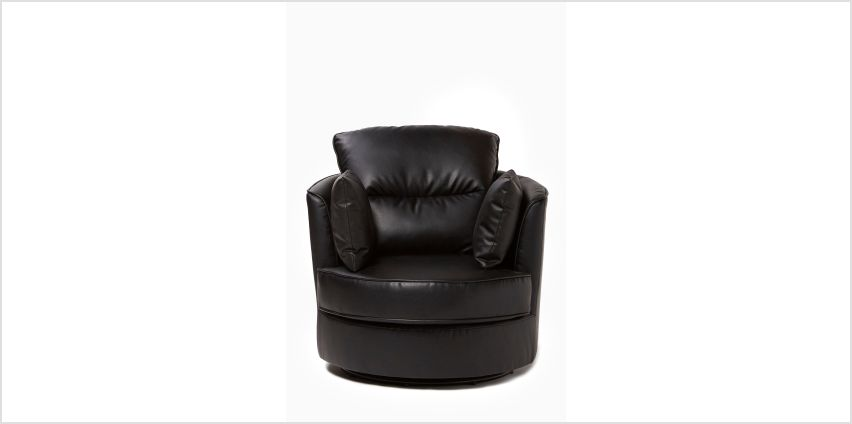 Swivel Relaxer Faux Leather Chair with Cushions from Studio