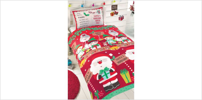 Personalised Santas Workshop Double Duvet Set from Studio