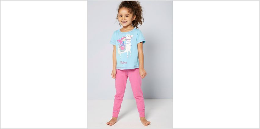 Girls Personalised Short Sleeve Hippy Princess and Llama Pyjamas from Studio