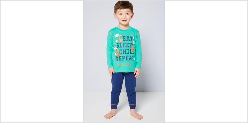 Boys Dinosaur Eat Sleep Personalised Pyjamas from Studio