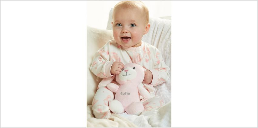 Baby Pink Sleepsuit with Personalised Bunny from Studio