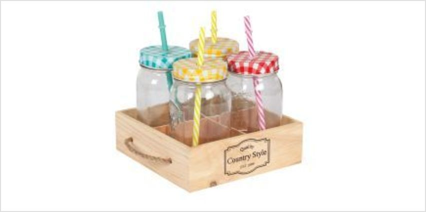 Set of 4 Jars in a Wooden Tray from The Book People