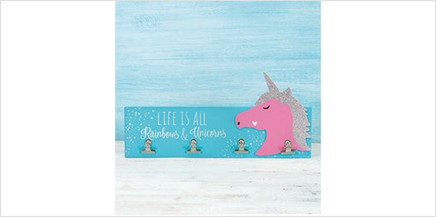 Wooden Unicorn Photoboard with 4 Clips from The Book People