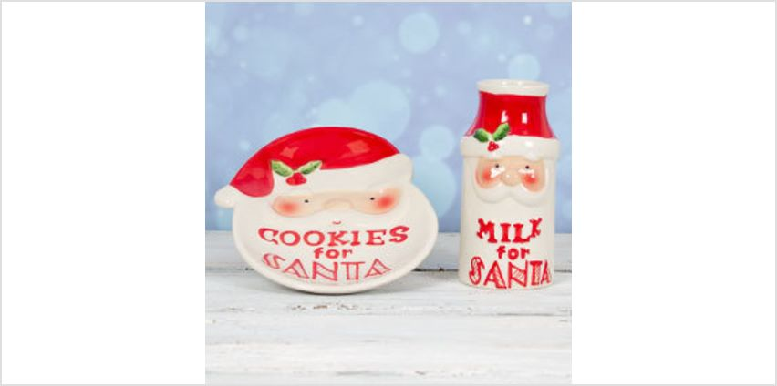 Santa Cookie Plate and Milk Jar from The Book People