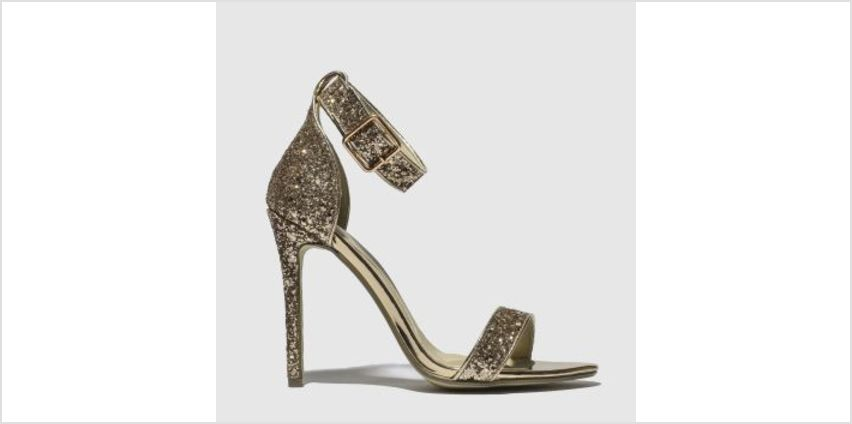 Missguided Gold Flat Strap Glitter Womens High Heels from Schuh