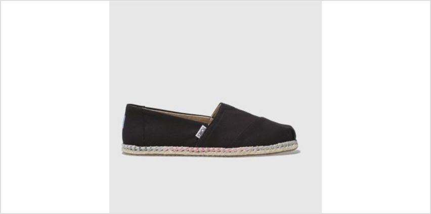 Toms Black Classic Slip Rope Sole Womens Flats from Schuh
