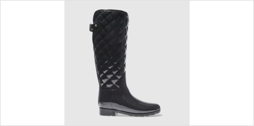 Hunter Black Refined Gloss Quilt Tall Womens Boots from Schuh