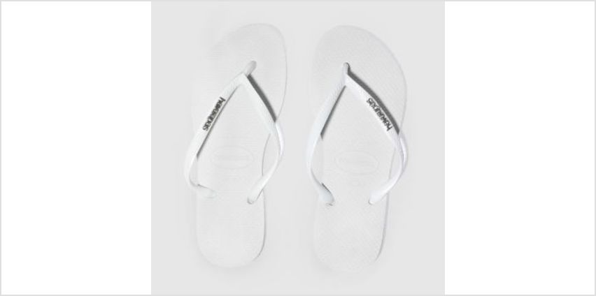Havaianas White & Silver Slim Logo Metallic Womens Sandals from Schuh