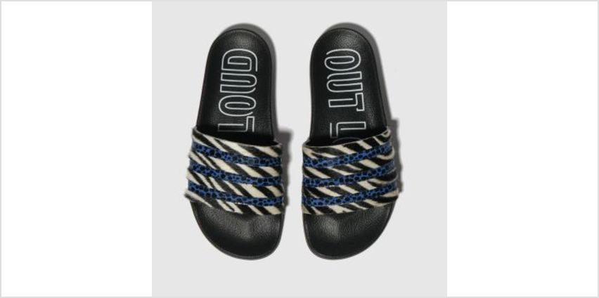 Adidas Black and blue Adi Adilette Womens Sandals from Schuh