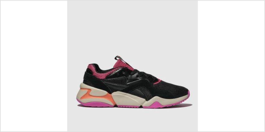 Puma Black & pink Nova Urban 90S Womens Trainers from Schuh