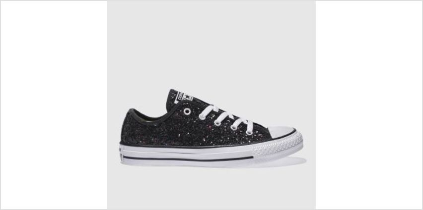 Converse Black & Purple All Star Glitter Ox Womens Trainers from Schuh